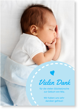 Dankeskarten Geburt, Herzlinie in Blau