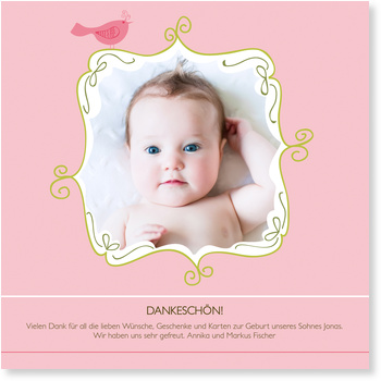 Dankeskarten Geburt, Kleines Vögelchen in Rosa