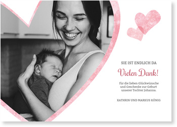 Dankeskarten Geburt, Liebevolle Herzen