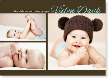 Dankeskarten Geburt, Pure Liebe in Braun