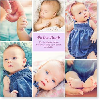 Dankeskarten Geburt, Sechs Bilder - Flieder