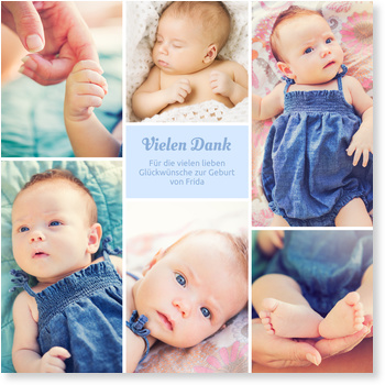 Dankeskarten Geburt, Sechs Bilder - Taubenblau