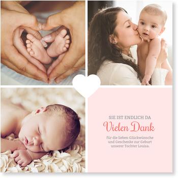 Dankeskarten Geburt, Unser kleines Herzchen - Rosé