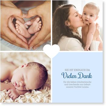 Dankeskarten Geburt, Unser kleines Herzchen - Taubenblau