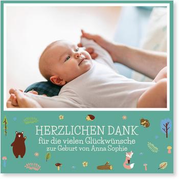 Dankeskarten Geburt, Waldfreunde in Blau