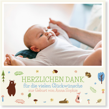 Dankeskarten Geburt, Waldfreunde