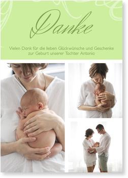 Dankeskarten Geburt, Zarte Verzierung in Grün