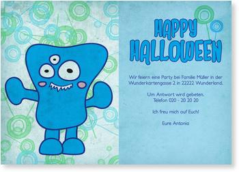 Einladungskarten Halloween , Blaues Monster