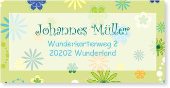 Adressaufkleber Geburtstag, Adressaufkleber - Flower Power - Grün