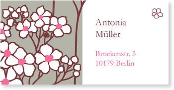 Adressaufkleber Kommunion, Adressaufkleber - Kirschblüte: Taupe