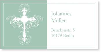 Adressaufkleber Kommunion, Ornamentkreuz in Mintgrün