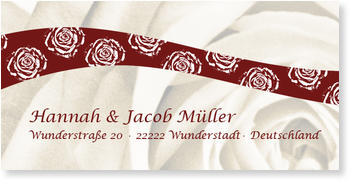 Adressaufkleber Hochzeit, Rosen