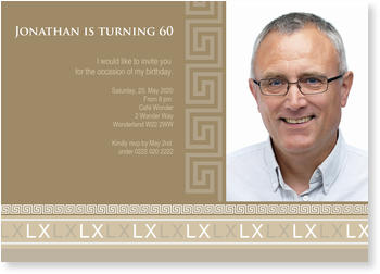 60th Birthday Invitations to invite your loved ones, Roman Border