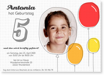 Einladungskarten Kindergeburtstag, Bunte Luftballons für Mädchen