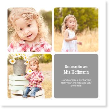 Allgemeine Dankeskarten, Drei kleine Fotos - Grau