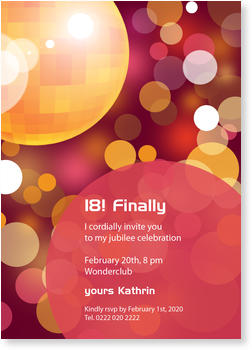 Birthday Invitations for your 1st - 111th Birthday, Discoball Orange