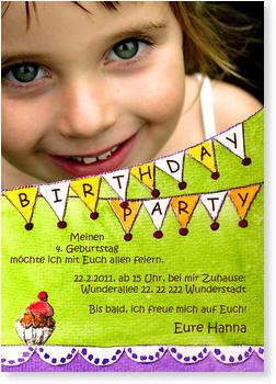 Einladungskarten Kindergeburtstag, Partygirlande