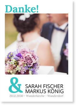 Dankeskarten Hochzeit, Auf weißem Grund