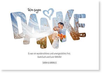 Dankeskarten Hochzeit, Fotoschrift