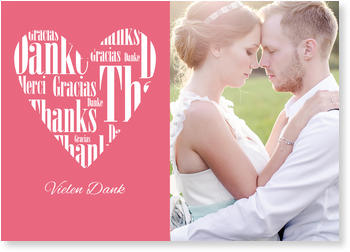 Dankeskarten Hochzeit, Herz aus Liebe