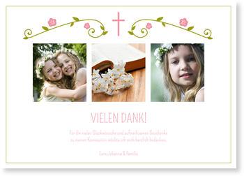 Danksagungskarten Kommunion, Blütengirlande in Rosa