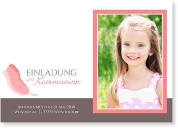 Einladungskarten Kommunion, Federleicht