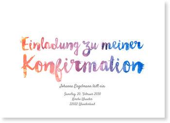 Einladungskarten Konfirmation, Aquarellschrift