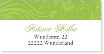 Adressaufkleber Kommunion, Blumenmuster in Grün