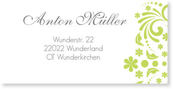 Adressaufkleber Kommunion, Elegante Einladung in Grün