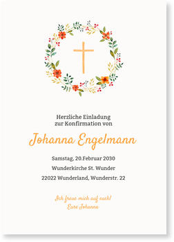 Einladungskarten Konfirmation, Floraler Kreis