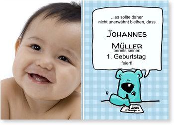 Einladungskarten Kindergeburtstag, 1. Geburtstag kleiner Schreibbär