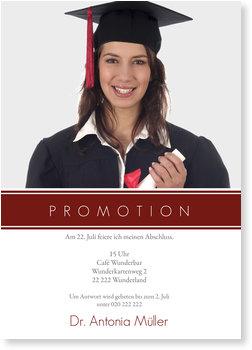 Einladungskarten Abschluss, Promotion - Modern - Weinrot