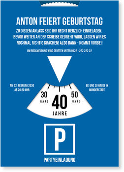 Einladungskarten Geburtstag, Parkscheibe