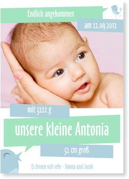 Geburtskarten, Pastellvögelchen in Mint