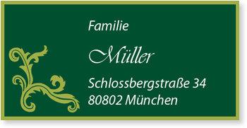 Adressaufkleber Geburtstag, Ornament in Grün