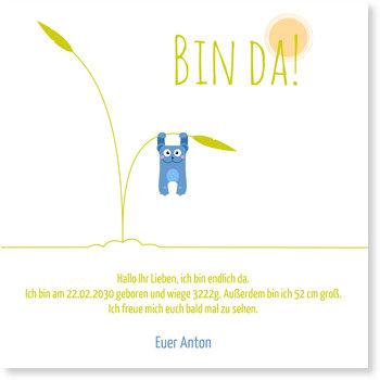 Geburtskarten, Babybär in Blau