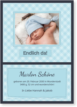 Geburtskarten, Babydeckchen