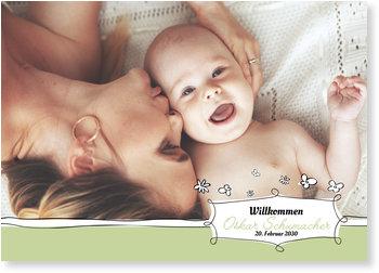 Geburtskarten, Baby Blumenschild