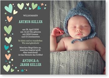 Geburtskarten, Bunte Herzchen