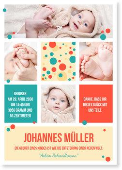 Geburtskarten, Bunte Punkte