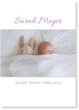 Geburtskarten, Dezentes Design in Weiß