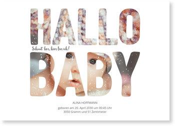 Geburtskarten, Fotoschrift