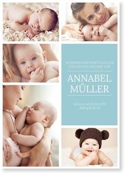 Geburtskarten, Fünf Bilder
