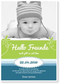 Geburtskarten, Hallo Freunde