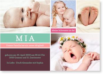Geburtskarten, Kleine Kästchen in Violett