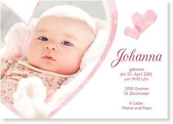 Geburtskarten, Liebevolle Herzen