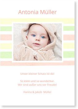 Geburtskarten, Liebevolle Streifen
