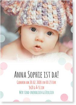 Geburtskarten, Pastellpunkte