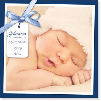 Geburtskarten, Schleifenband in Blau
