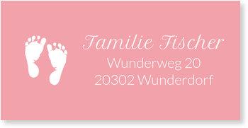 Adressaufkleber Baby, Zwei kleine Füße